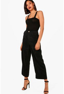 Womens Black Cord Wide Leg Culotte