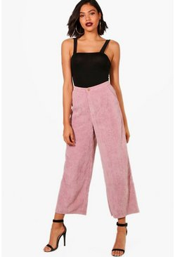 Womens Pink Cord Wide Leg Culotte
