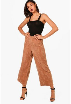 Womens Tan Cord Wide Leg Culotte