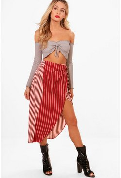 Womens Red Mixed Stripe And Wrap Woven Midi Skirt