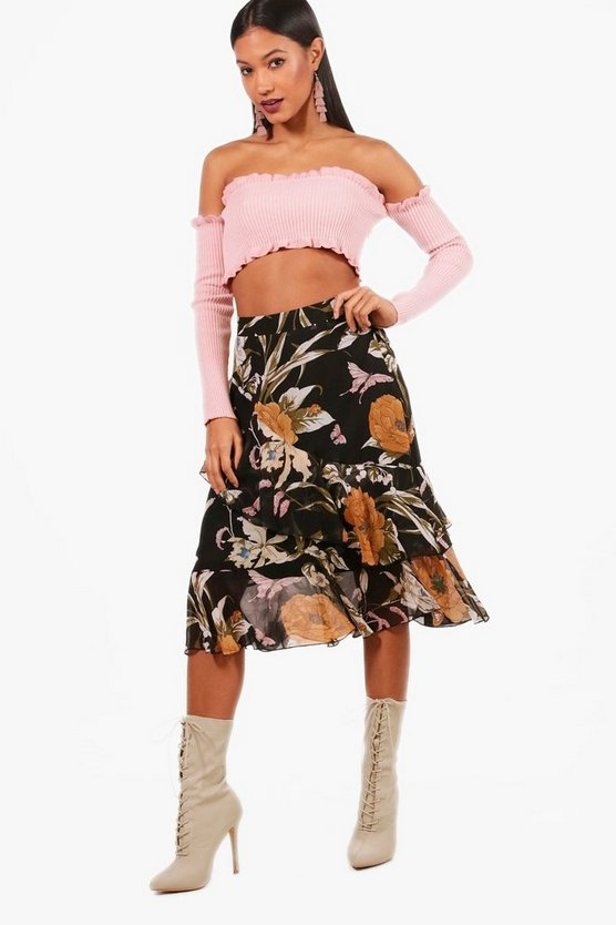 Woven Floral Tiered Frill Midi Skirt
