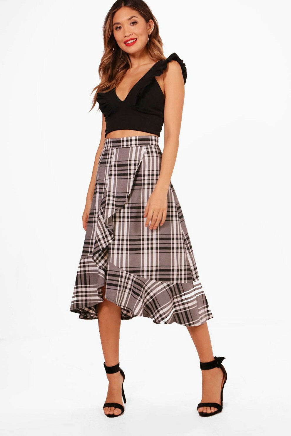 ea5edb06f Large Check And Frill Woven Midi Skirt | Boohoo