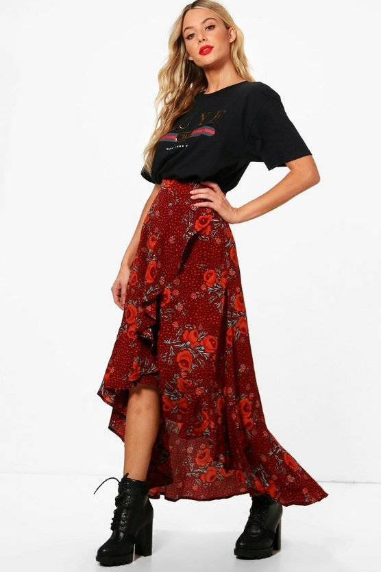 Womens Berry Woven Floral Frill And Wrap Midi Skirt