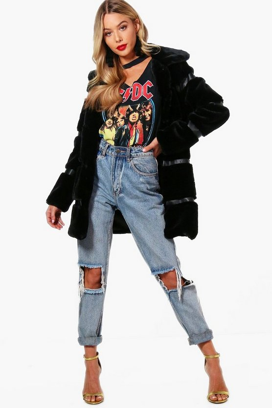 Stripe Faux Fur Coat