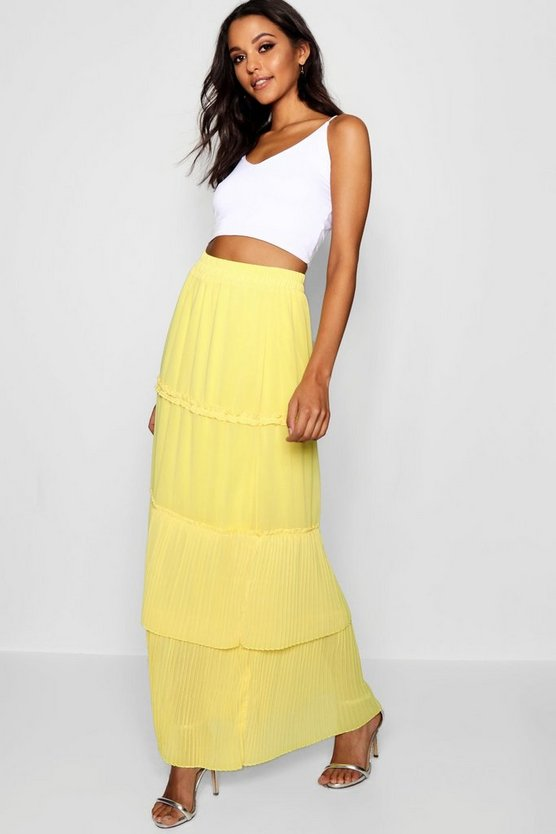 Pleated & Tiered Chiffon Maxi Skirt