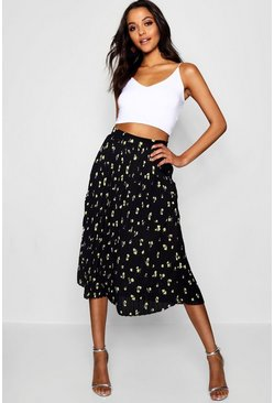 Black Woven Floral Pleated Midi Skater Skirt