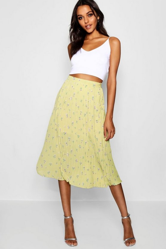 Woven Floral Pleated Midi Skater Skirt