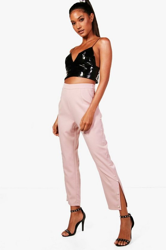 Woven Pearl Detail Trousers