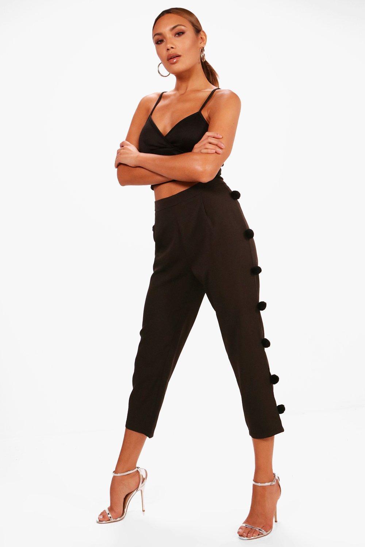 Woven Pom Pom Slim Leg Trouser