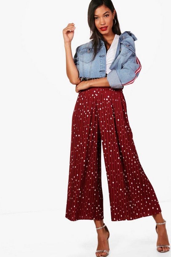 Womens Berry Woven Pleated Polka Dot Culottes