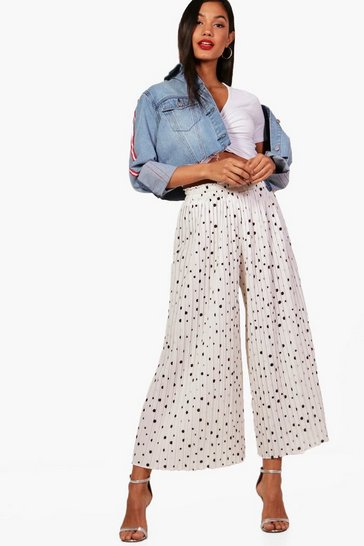 Womens White Woven Pleated Polka Dot Culottes