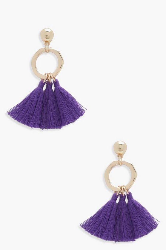 Lisa Hammered Hoop Tassel Earrings