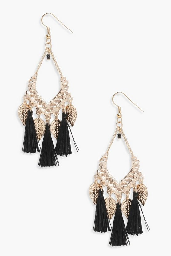Holly Leaf Charm Tassel Detail Earrings
