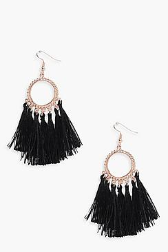 1960s Costume Jewelry – 1960s Style Jewelry Rebecca Multi Tassel Boho Earrings $10.00 AT vintagedancer.com
