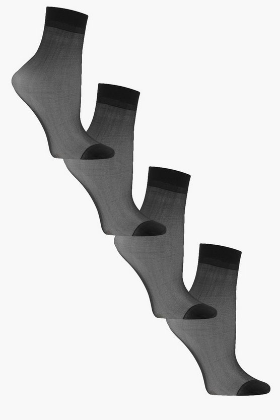 Zoe 4 Pack Basics Sheer Ankle Socks