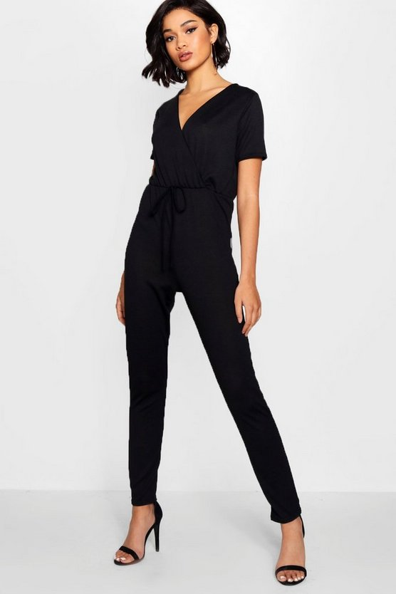 Wrap Over Tie Waist Knitted Jumpsuit
