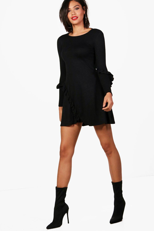 Boohoo-kurzes-ausgestelltes-Kleid-aus-Strick