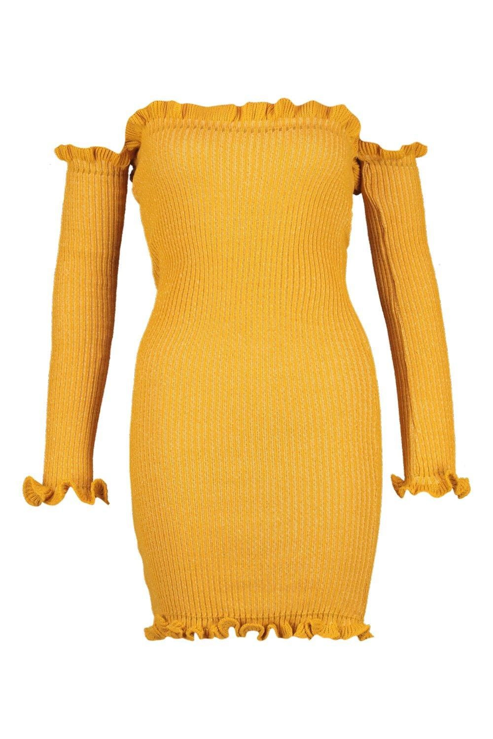 Ruffle Knitted Rib Mini Detail Dress mustard qw75x51zn