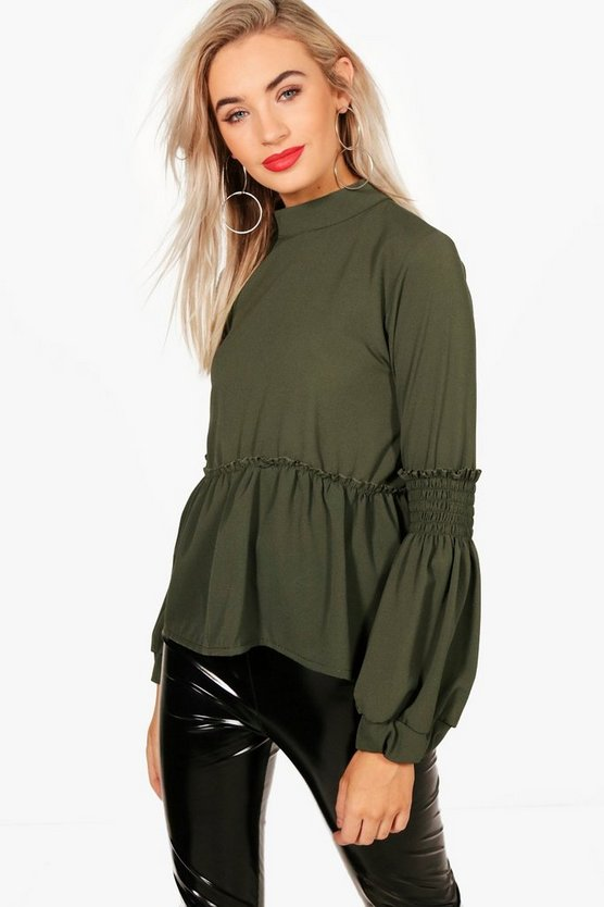 Womens Green Sheared Balloon Sleeve Blouse