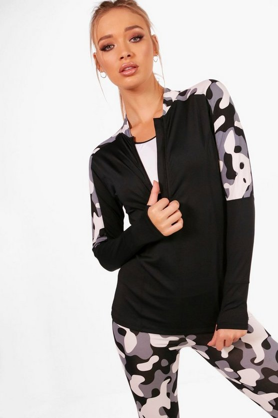 Fit Camo Zip Up Running Top