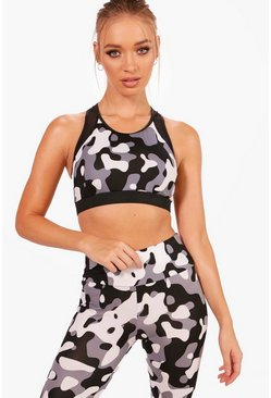 Womens Black Fit Camo Sports Bra