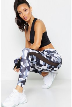 Womens Black Fit Camo Running Leggings