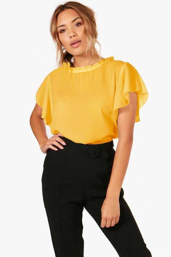 Woven Frill Sleeve And Neck Blouse