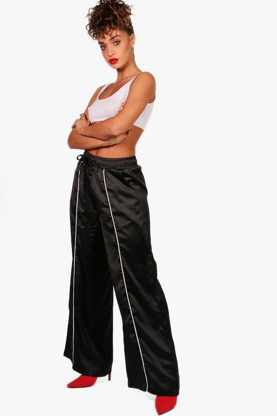 Sateen Wide Leg Woven Sports Trouser