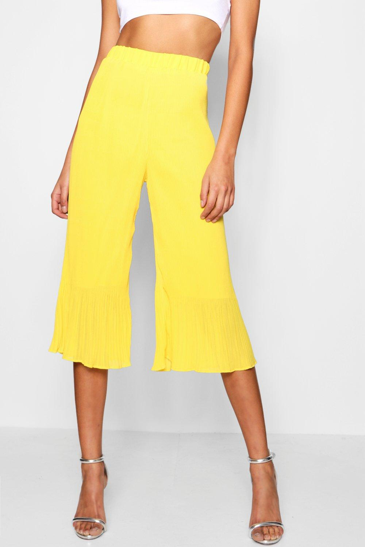 yellow Pleated Culottes Woven Pleated Chiffon yellow Culottes Woven Woven Chiffon xvxIHOq