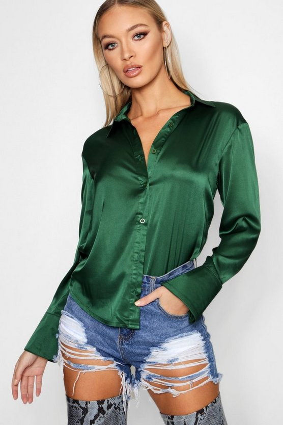 Womens Green Premium Satin Shirt