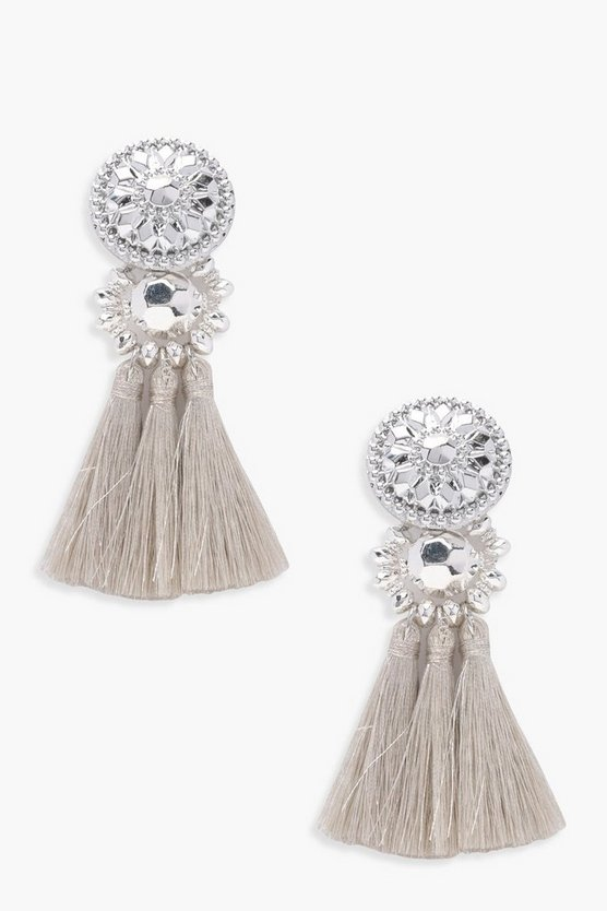 Floral Metallic Tassel Bead Statement Earrings