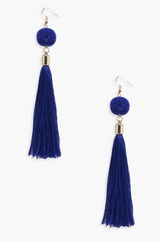 Navy Pom Pom Tassel Earrings