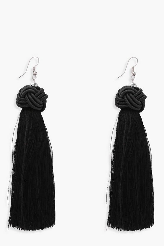 Ella Knot Detail Tassel Earrings