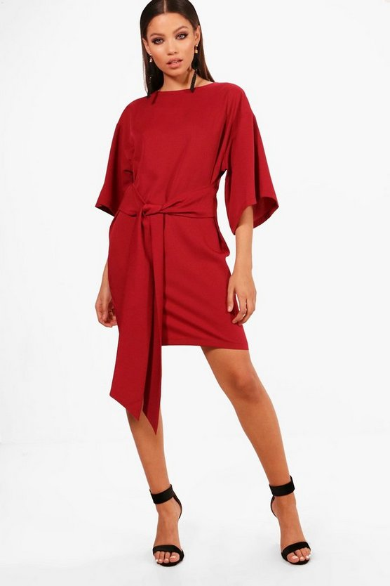 Tie Waist Kimono Sleeve Shift Dress