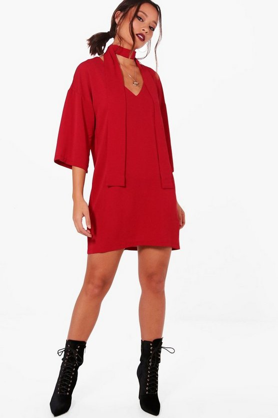 Tie Neck Kimono Sleeve Shift Dress