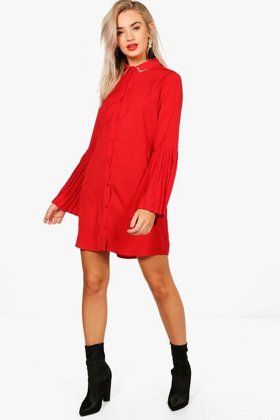 Pleated Sleeve Collar Tip Shift Dress