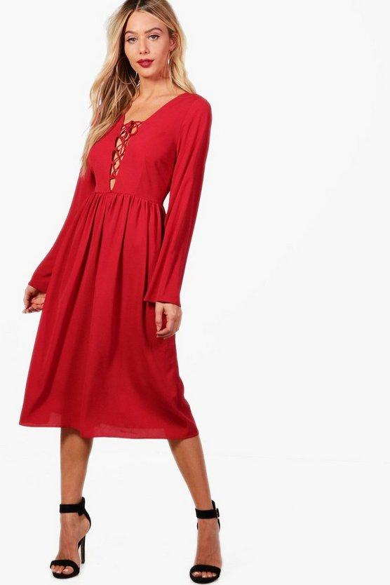 Lace Up Front Fluted Sleeve Midi Dress, Berry, MUJER