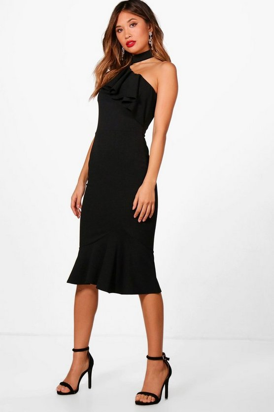 Womens Black One Shoulder Frill High Neck Midi Dress