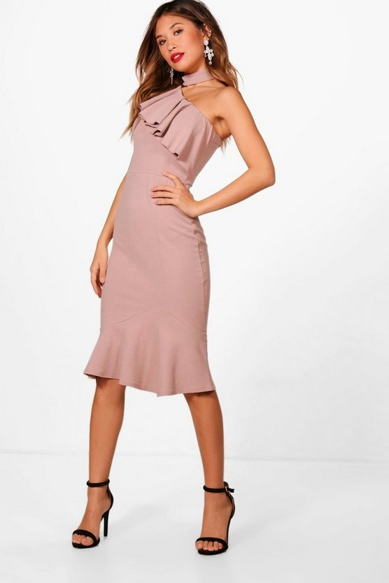 One Shoulder Frill High Neck Midi Dress