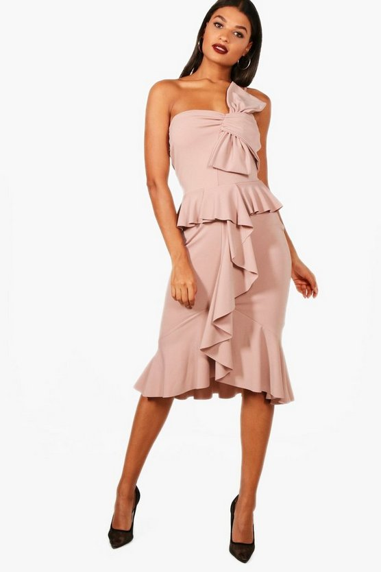 Bandeau Bow and Frill Detail Midi