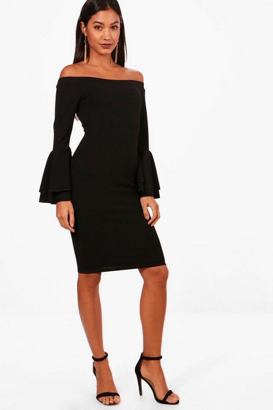 Off the Shoulder Double Frill Midi Dress