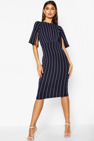 Womens Navy Stripe Split Sleeve Wiggle Midi Dress