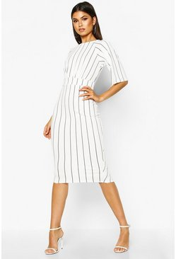 White Stripe Split Sleeve Wiggle Midi Dress