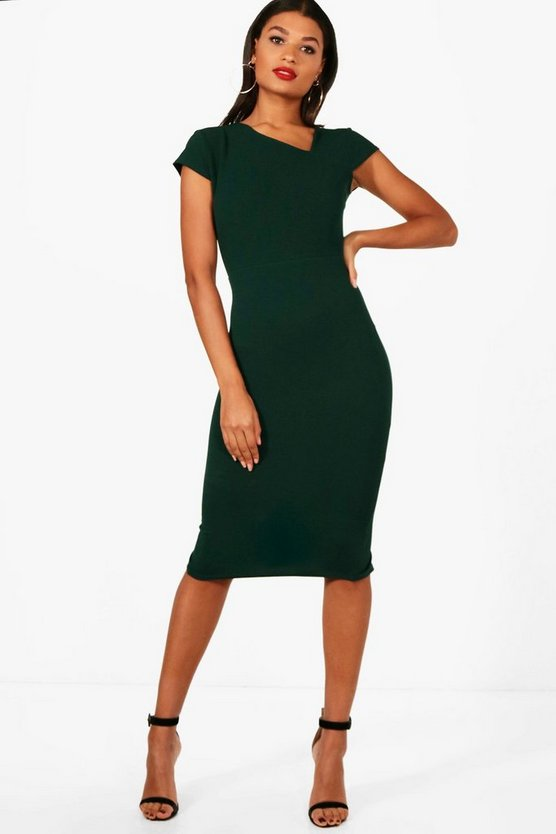 Vicky Cap Sleeve Curve Neck Midi Dress