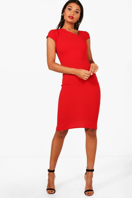 Cap Sleeve Curve Neck Midi Dress