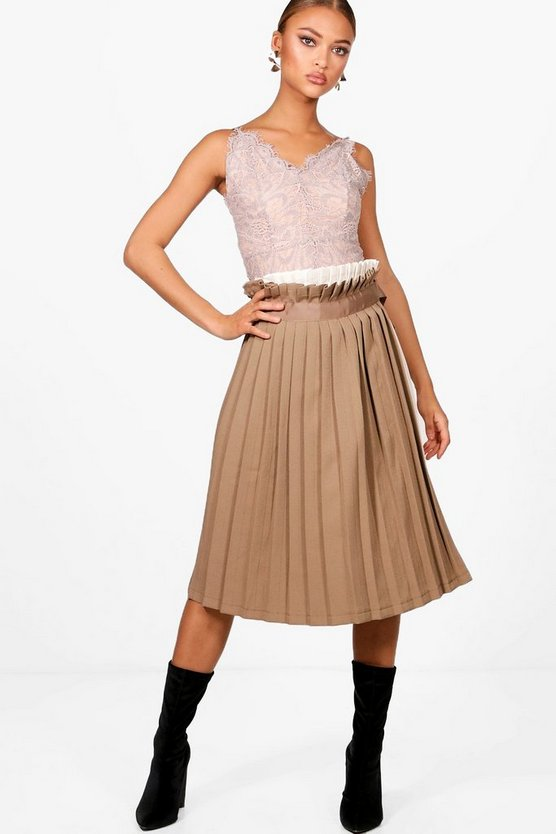 Contrast Woven Pleated Wrap Midi Skirt