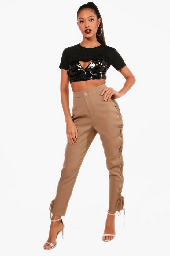 Celeste Woven Lace Up Eyelet Side Trouser