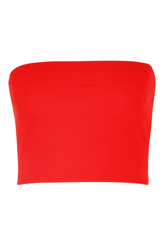 Basic red Rib Basic Bandeau Rib IfwWxg5