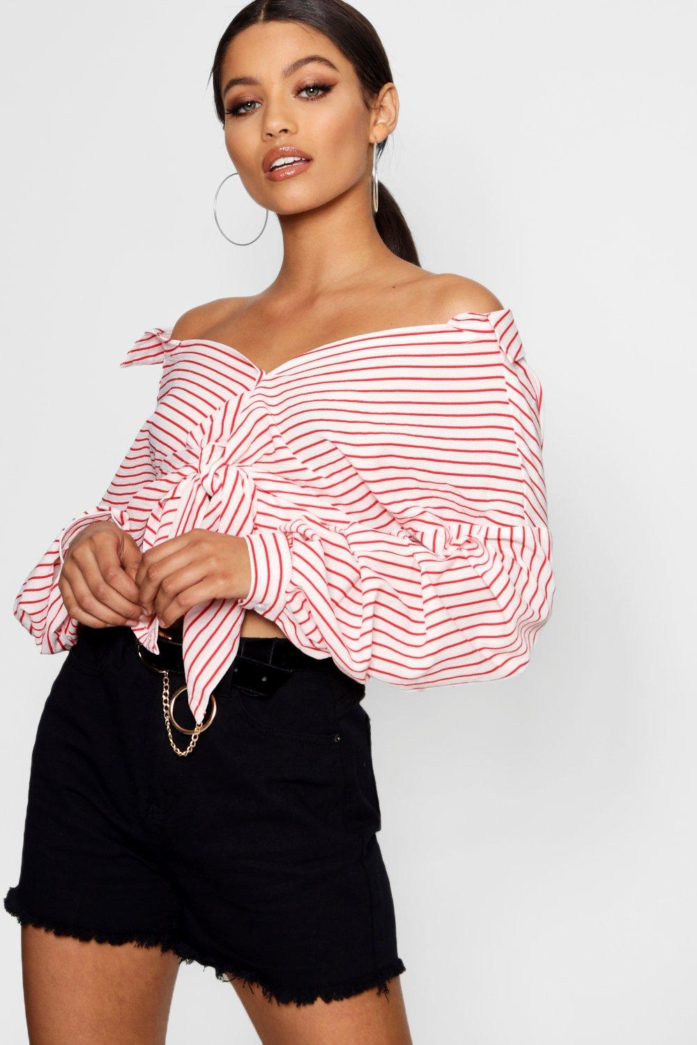 Sleeve Tie Stripe blue Ruched Front Shirt PpxqUHw