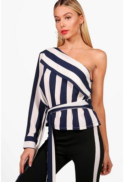 Womens Blue One Shoulder Stripe Tie Top